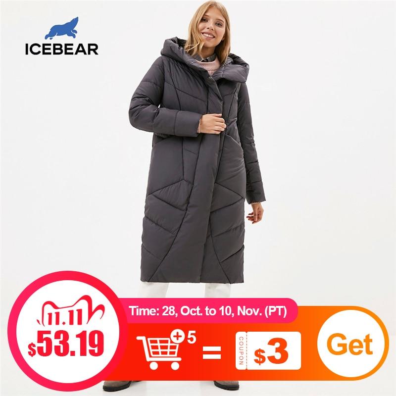 Женская куртка с капюшоном ICEbear, Повседневная зимняя утепленная хлопковая одежда, модная брендовая Женская одежда, модель 2020|Парки| | АлиЭкспресс