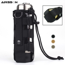 Outdoor Military Molle Pouch Camping Water Bottle Bag Open Top Survival Kettle Holder 600D Polyester Waterproof Travel Kits