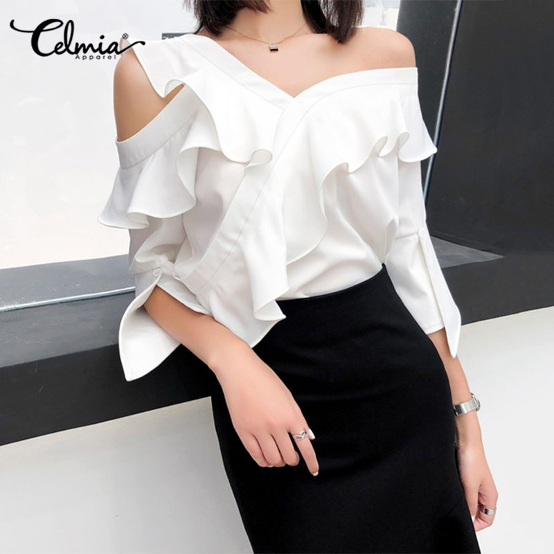 2020 Summer Tops Celmia Sexy Off Shoulder Women Ruffled Blouse Fashion Shirt Half Sleeve Casual Elegant Office Ladies Blusas 5XL