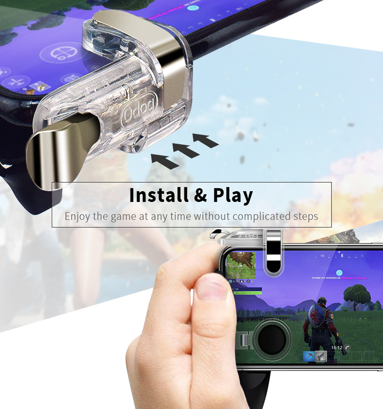 Data Frog Portable Gamepad Mobile Controller with Four Finger Operation Mode and Two Triggers for PUBG 5
