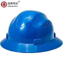Darlingwell segurança completa aba capacete com aberturas de construção capacete de trabalho respirável ferroviário metalurgia mina boné atacado