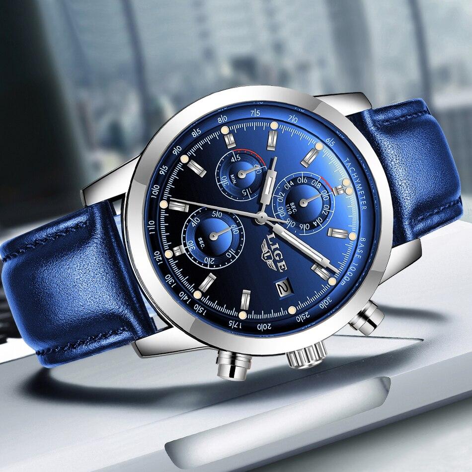 2019 LIGE nouvelle mode hommes montres analogique Quartz montres 30M étanche chronographe sport Date en cuir montres Montre Homme 3