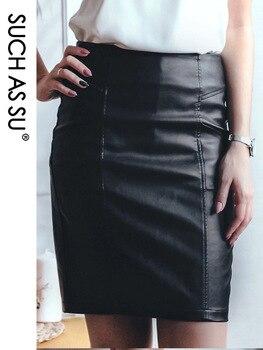 SUCH AS SU New Fashion 2020 Winter PU Leather Skirt Women Black High Waist Occupation Work Pencil Skirt S-5XL Size Autumn Skirt trendy women s elastic waist pu leather spliced skirt