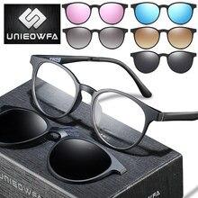 Gafas graduadas 5 en 1 con Clip magnético para mujer gafas de sol polarizadas ópticas redondas Retro para hombre gafas progresivas para miopía 1,74