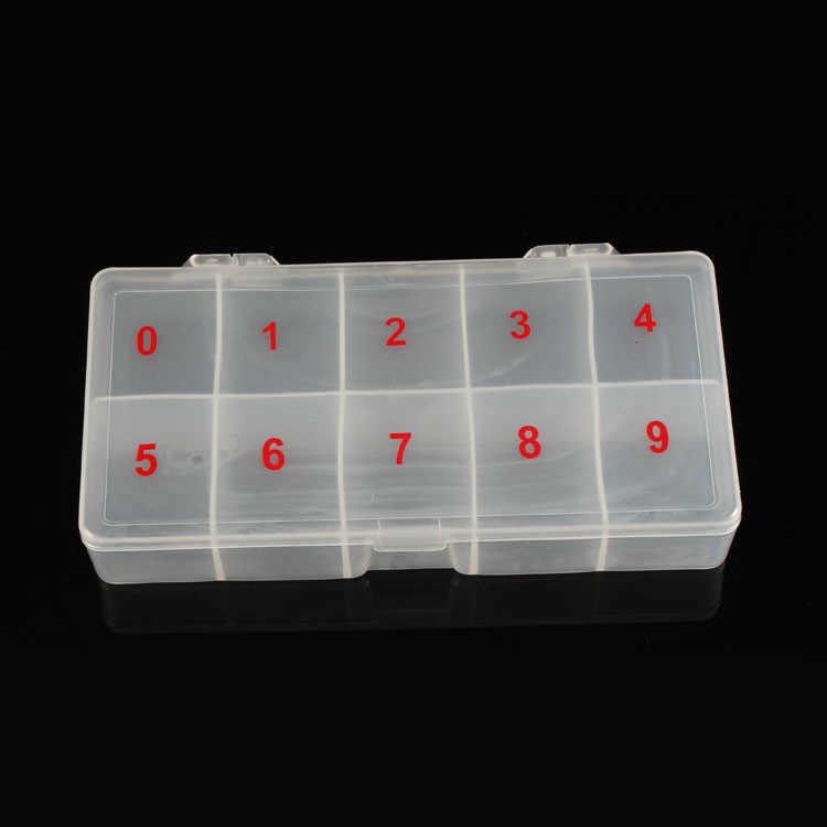 Palsu Kuku Kotak Kuku Tip Box Tembus Alami Palsu Nail Art Tips Kasus Palsu Seni Kuku Tips Kotak Akrilik Penyimpanan kasus