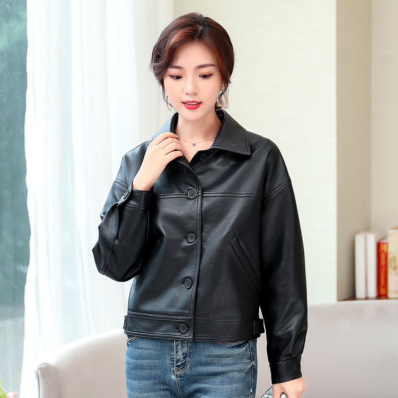 Leather   jacket female 2019 spring and autumn new motorcycle   leather   coat women short paragraph large size slim women's clothing