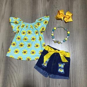 Ropa para bebés niñas trajes de girasol niña aqua shirt jeans shorts con cinturón ropa para niños con accesorios