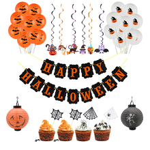 Happy Halloween Banner Balloon Cupcake Topper Party Decoration Pumpkin Spider for Bar Haunted House Halloween DIY Decorations halloween pumpkin head happy carnival decoration candy bar bunting garlands party decor wedding babyshower wreath slingers