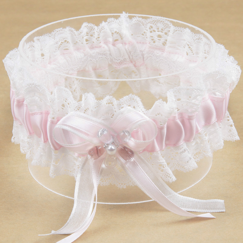 Pink Bowknot Pearl Flower Lace Ribbon Dream Princess Bride's Garter Wedding Supplies Elastic  Garter Leg Ring