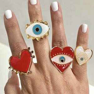 2019 New Adjustable Gold Red Heart Evil Eye Fashion Rings for women female popular cute evil eye love heart gold ring(China)