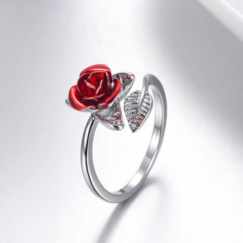Cincin Wanita Merah Mawar Taman Bunga Daun Terbuka Cincin Resizable Jari Cincin untuk Wanita Hari Valentine Hadiah Perhiasan