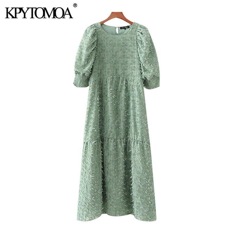 KPYTOMOA Women 2020 Chic Fashion With Tassel Midi Dress Vintage O Neck Puff Sleeves Female Dresses Vestidos Mujer