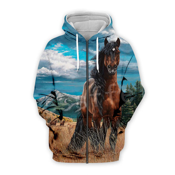 Tessffel Animal Horse art Unisex Colorful Casual Tracksuit Harajuku 3DfullPrint Zipper/Hoodies/Sweatshirt/Jacket/Mens Womens s-6 2