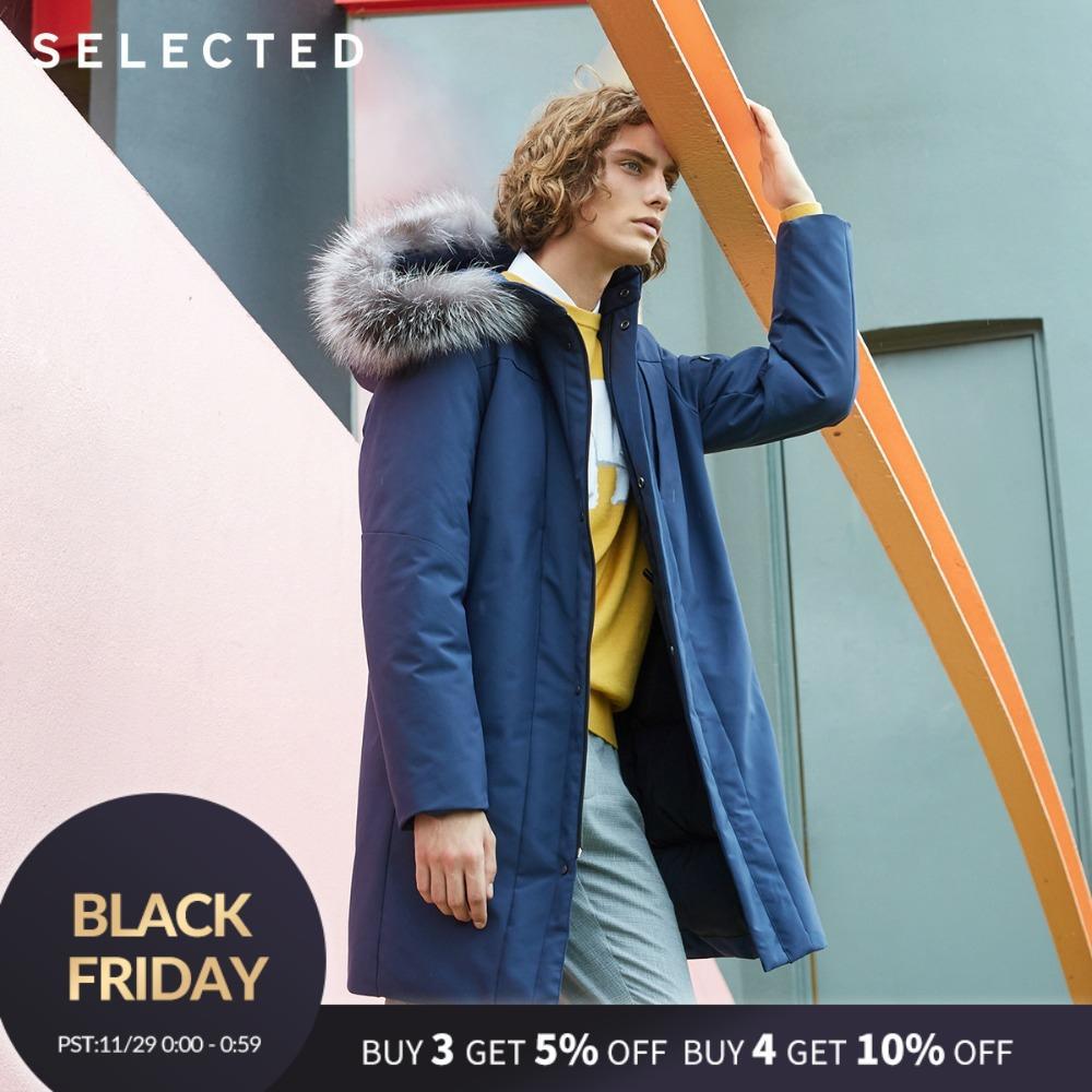 SELECTED Men's Winter Fox Fur Collar Down Jacket Medium Style Coat Warm Clothes S | 418412569