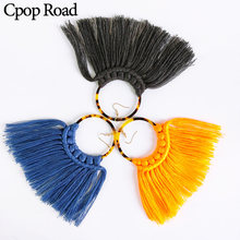 Cpop Cotton Thread Weave Acrylic Macrame Earrings Long Tassel Geometric Hollow Circle Pendant Earrings Women Jewelry Accessories(China)