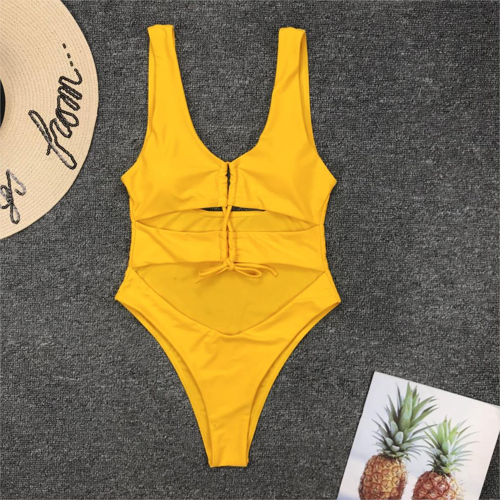Swimsuits Women 2019 Women's Swimming Suit  Swimwear Women One-piece Swimsuit Sexy Drawstring Lace-up One-piece Bikini Swimwear
