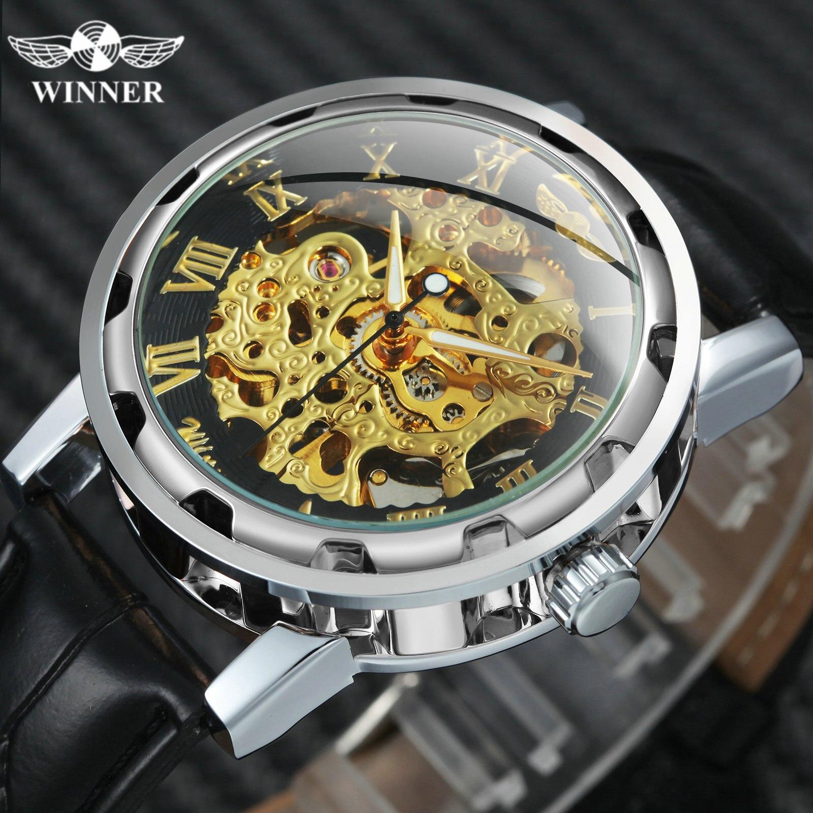 Oficial dos Homens Relógios de Moda Marca de Luxo Esqueleto de Ouro Pulseira de Couro Relógios de Pulso Vencedor Relógio Mecânico Masculino Clássico Vestido