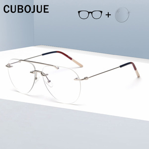 Image 1 - Cubojue Rimless Glasses Frame Men Women Fashion Aviation Eyeglasses Man Fashion Frameless Spectacles for Prescription Optic