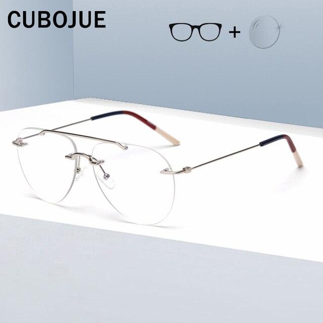 Cubojue Rimless Glasses Frame Men Women Fashion Aviation Eyeglasses Man Fashion Frameless Spectacles for Prescription Optic