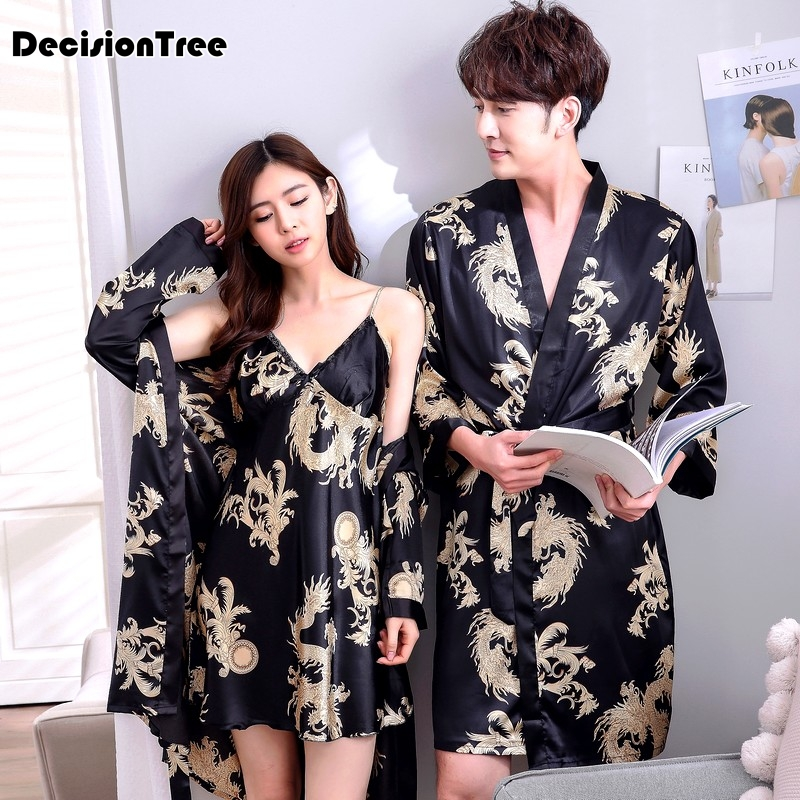 2020 Mens Silk Satin Sleepwear Long Robe Solid Male Bathrobe Loungewear Long Sleeve Kimono Men Pajamas Leisure