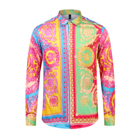 True Reveler colorful flower shirt dress party wedding tops royal crown shirts men long sleeve yellow shiny tops male blouse