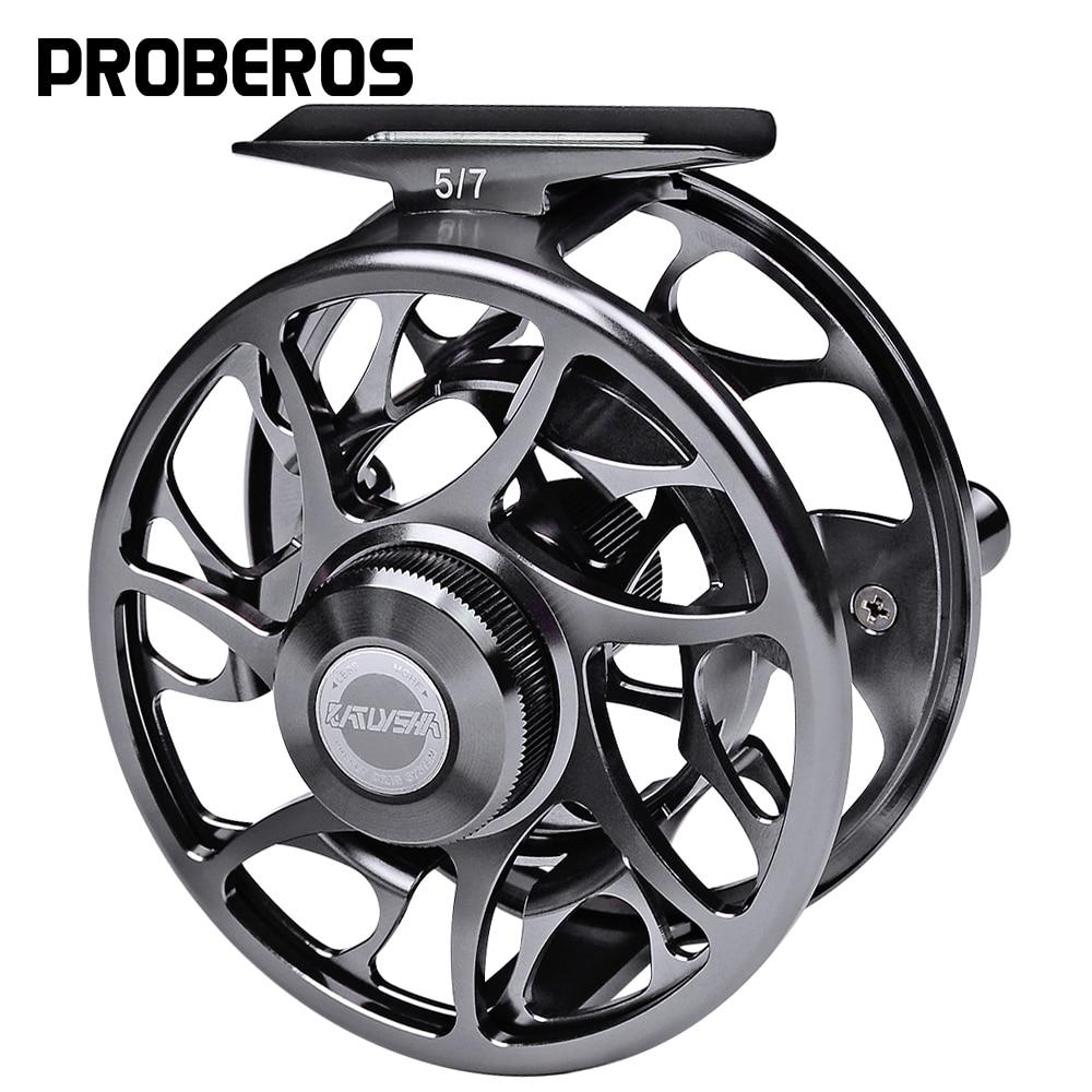 PROBEROS 3+1 BB Fly Fishing Wheel 5/7 7/9 9/10 WT Fly Fishing Reel CNC Machine Cut Large Arbor Die Casting Aluminum Fly Reel