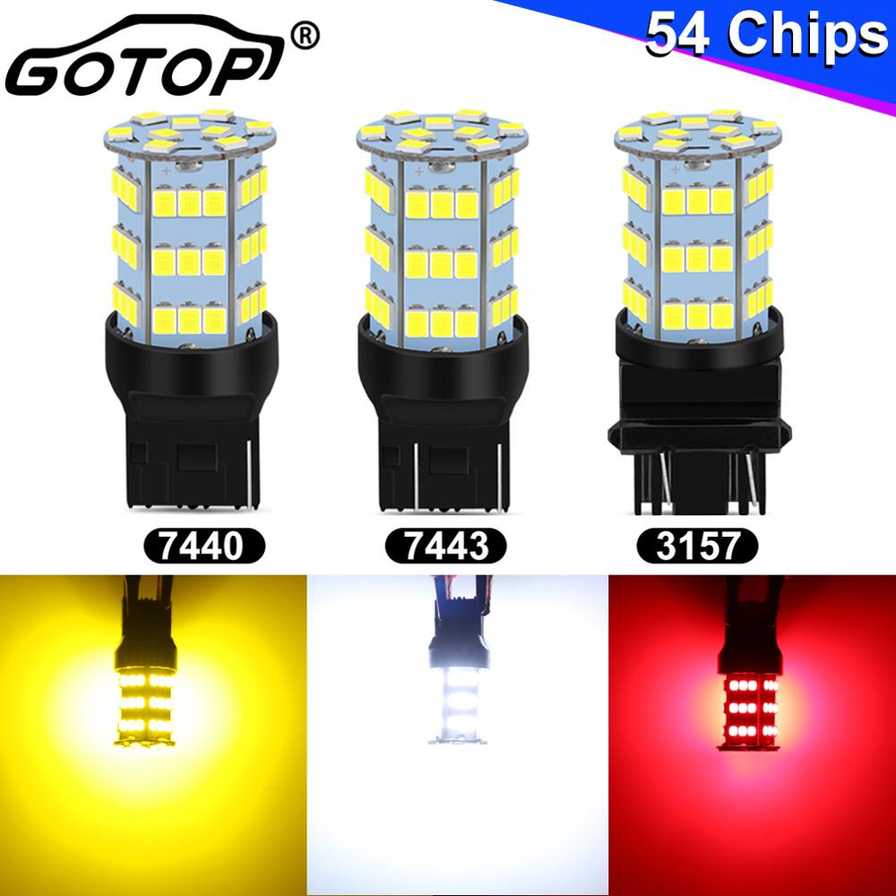 1pcs <font><b>T25</b></font> 3157 Car Turn Signal Light T20 7443 7440 <font><b>LED</b></font> Bulb W21W WY21W 54SMD 2835 Chips Auto <font><b>LED</b></font> Bulb Car Backup Light 12V 6000K image