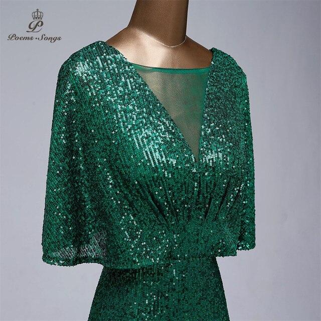 Sexy sequin Evening dress short sleeves vestidos de fiesta green dress evening gowns for women Party dress prom dresses 5