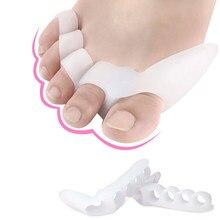 Séparateur de doigts et d'orteils en Gel de Silicone, 1 paire, 3/5 trous, protège-pouce, Valgus, ajusteur d'oignon, Hallux Valgus, outil de soins des pieds