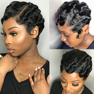 Image 2 - Bling saç kısa okyanus dalgası peruk brezilyalı Pixie kesim Bob parmak dalga peruk makinesi yapımı İnsan saç peruk kadınlar için doğal renk