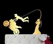 Акриловый зеркальный золотистый мотоцикл, велосипед, свадебный торт, Топпер с крючками для торта, любовь, торт, Топпер для торта, обручальны...