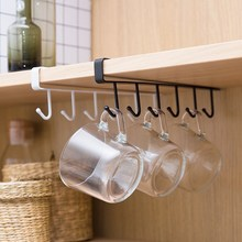 Home seamless kitchen storage rack nail free hanging wrought iron wardrobe hook organizer WY41102
