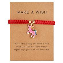 Hot Adjustable Unicorn Horse Charm Bracelets Lucky Red String Rope Bracelet Wish Card Jewelry For Women Men Birthday Gift