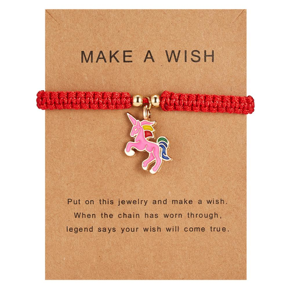 Hot Adjustable Unicorn Horse Charm Bracelets Lucky Red String Rope Bracelet Wish Card Jewelry For Women Men Birthday Gift image