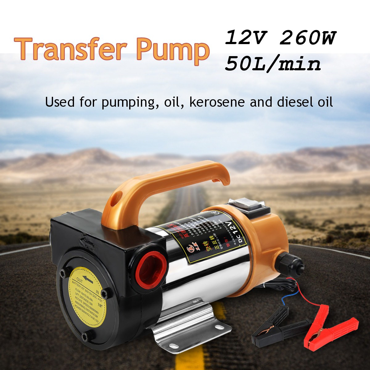 Motor de coche portátil 12V 260W para bomba de transferencia de aceite de combustible Diesel bomba de aceite autocebante 50 l/Min