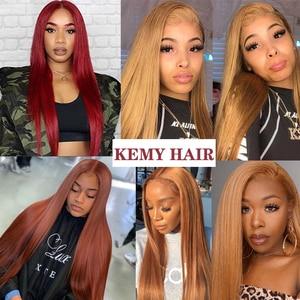 Image 3 - 99J/bordo insan saçı demetleri ile Frontal 13x4 ön renkli brezilyalı düz saç örgü demetleri kapatma olmayan Remy KEMY