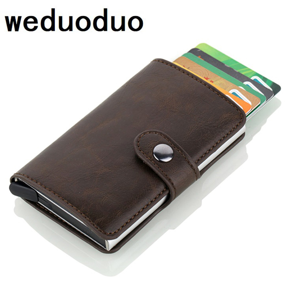 2020 New Fashion Anti RFID Card Holder Blocking Men's Credit Card Holder Leather Small Wallet ID Bank Card Case Metal Purse