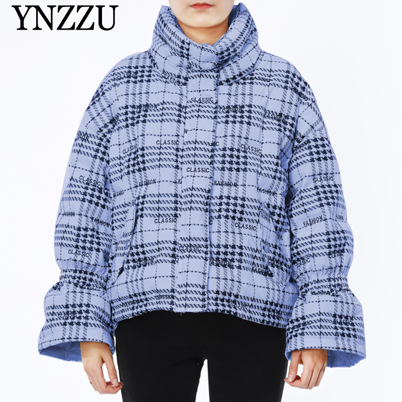 2019 Winter Bell sleeve Women   Down   jacket High collar letter print   Down     coat   Oversized casual female Short Overcoat YNZZU 9O012