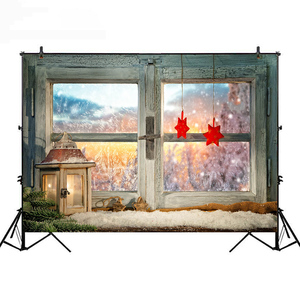 Neoback Christmas Backdrop for Photography Fireplace and Chirstmas Tree Background for Photo Studio Red Sock Wood Wall Photocall