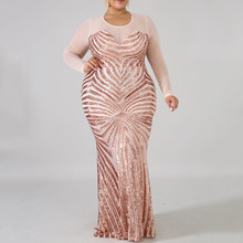 2019 Plus Size Pailletten Sexy Jurk Vrouwen Sheer Mesh Patchwork Lange Mouwen Bodycon Elegant Mermaid Lange Avond Party Jurk Maxi(China)