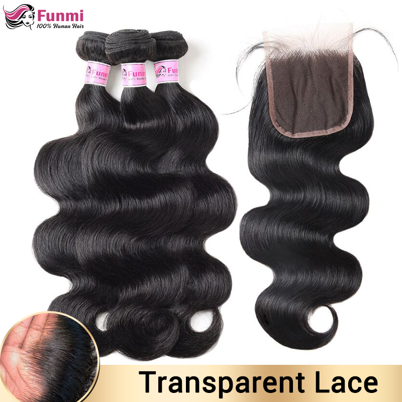 Transparent Lace Closure With Bundles Brazilian Body Wave Bundles With Closure Human Hair Bundles With Closure For Black Women