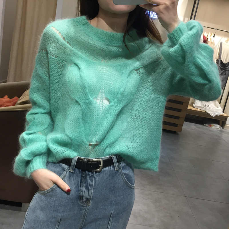 Meihuida Autumn Women Korean Style Casual O-Neck Solid Soft Warm Over Size Loose Knitted Sweaters Pullovers