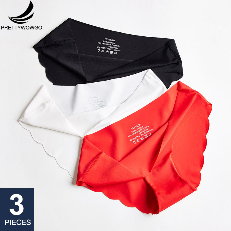Prettywowgo 3 Pcs/lot Seamless Women Panties Good Quality Plus Size Ice Silk Sexy Comfortable Briefs M L XL XXL 3XL 0233