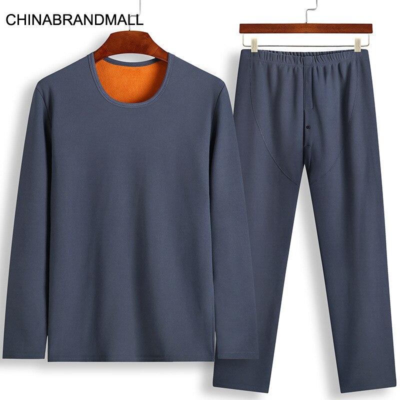 Men Keep Warm Underwear Suit Plus Velvet Thicken Autumn Clothes Big Fat Man Plus Fat Plus Size Backing Clothing Suit 2020