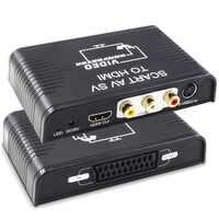 S-video-Convertidor de Scart a HDMI, caja de interruptor 3 en 1, Scart, s-video, RCA a HDMI