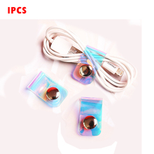1pcs Laser Portable Data Cable Storage Buckle Personality Cable Tie Button Finishing Set Buckle Headphone Winder laser personalized cable tie with button finishing cable winder pvc transparent data line headphone cable winder cord organizer