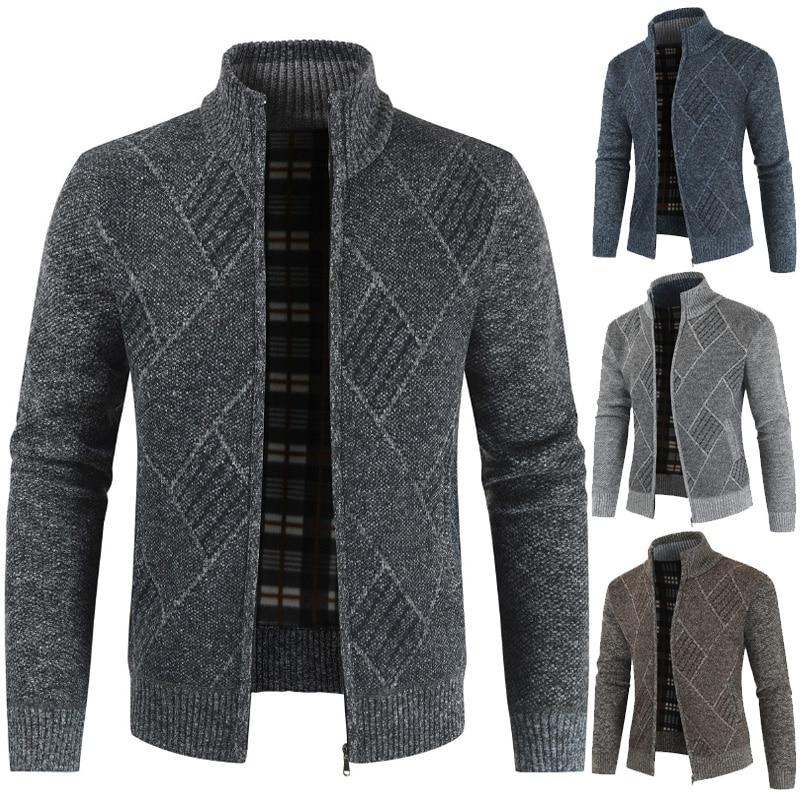 MONERFFI 2020 Mens Cardigan Sweater Autumn Stand Collar Zipper Knitted Casual Sweatercoat Coats Men Warm Clothes Fleece Knit