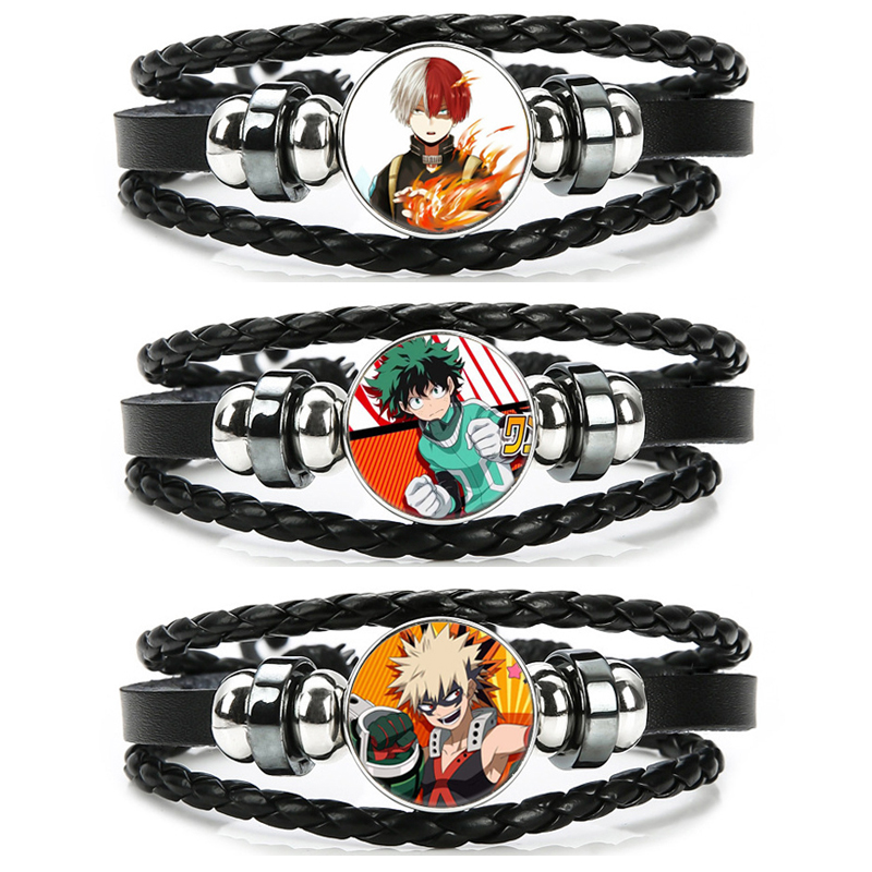 Boku No Hero Academia Bracelet My Hero Academia Charms Bracelet Kids Boy Punk Multilayer Leather Bracelets Jewelry