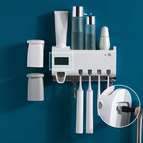 pratico antibacterias uv luz ultravioleta creme dental dispensador esterilizador titular escova de dentes do banheiro