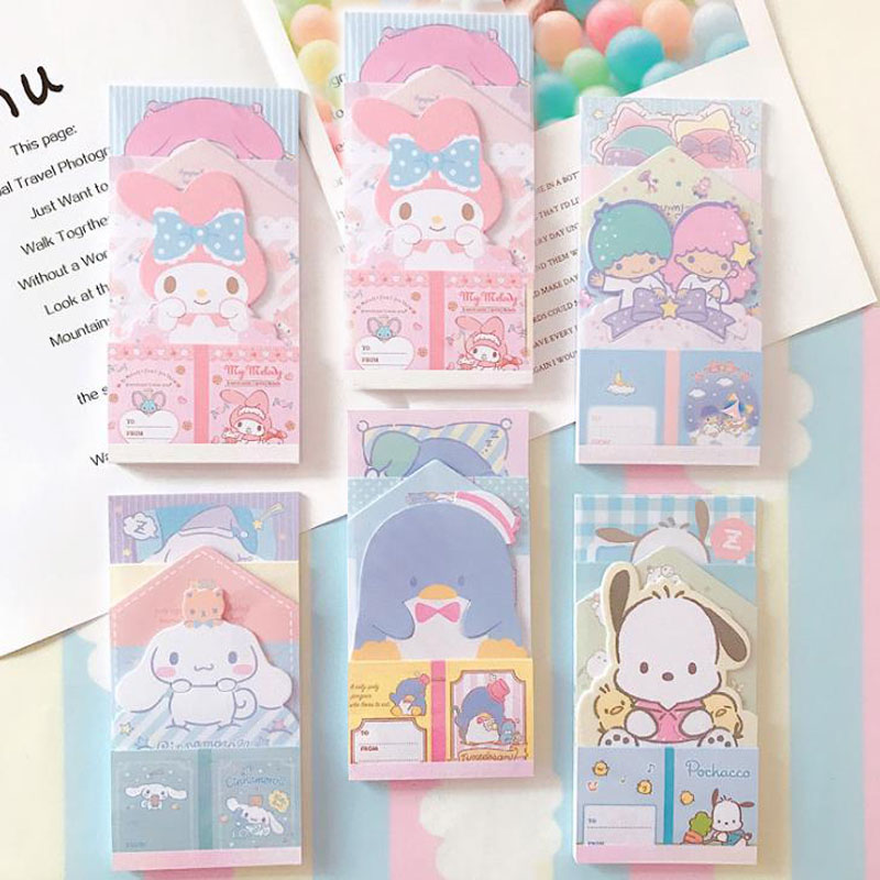 1 Pcs Cartoon My Melody Cinnamoroll Dog Twin Star Penguin Paper Memo Pads Self-Adhesive Sticky Notes School Office Stationery